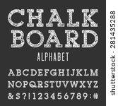 chalkboard alphabet vector font.... | Shutterstock .eps vector #281435288