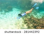 woman with mask snorkeling in... | Shutterstock . vector #281442392