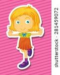 closeup cute girl standing on... | Shutterstock .eps vector #281459072