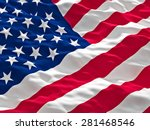 3d image of american flag | Shutterstock . vector #281468546