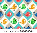 seamless colorful cute birds... | Shutterstock .eps vector #281498546