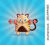 cute and happy vector cat with...   Shutterstock .eps vector #281499485