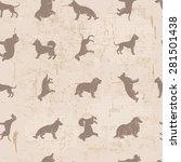 dog breeds silhouettes  vintage ... | Shutterstock .eps vector #281501438