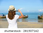 woman taking photos with... | Shutterstock . vector #281507162