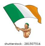 irish fan waving flag | Shutterstock .eps vector #281507516