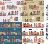 color set of scandinavian city