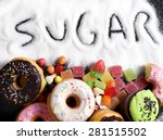 mix of sweet cakes  donuts and... | Shutterstock . vector #281515502