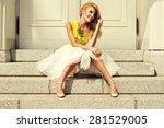 beautiful blonde young woman... | Shutterstock . vector #281529005