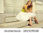 beautiful blonde young woman... | Shutterstock . vector #281529038