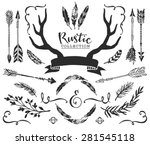 hand drawn vintage antlers ... | Shutterstock .eps vector #281545118