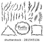 hand drawn vintage wood tree... | Shutterstock .eps vector #281545136
