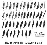 hand drawn vintage feathers.... | Shutterstock .eps vector #281545145