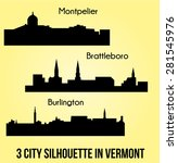 3 city silhouette in vermont  ... | Shutterstock .eps vector #281545976