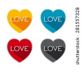 flat hearts with word   love...   Shutterstock . vector #281557328