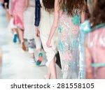 fashion show finale  a runway... | Shutterstock . vector #281558105