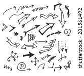 vector hand drawn arrows set... | Shutterstock .eps vector #281561492