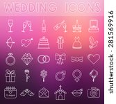 set of vector outline wedding... | Shutterstock .eps vector #281569916
