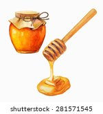 watercolor honey jar and honey... | Shutterstock .eps vector #281571545