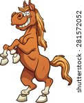 Cartoon Horse Standing On Two...