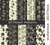 set of ten flower patterns | Shutterstock .eps vector #281575616