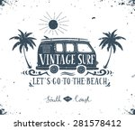 Vintage Summer Surf Print With...