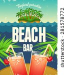 summer vector poster with two... | Shutterstock .eps vector #281578772