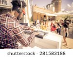 dj playing trendy music in a... | Shutterstock . vector #281583188