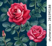 watercolor rose flowers...   Shutterstock . vector #281595188