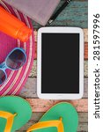 tablet and summer tool on... | Shutterstock . vector #281597996
