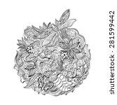 henna paisley mehndi abstract... | Shutterstock .eps vector #281599442