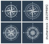 set of compass roses or... | Shutterstock .eps vector #281599892
