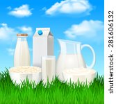 milk and sour cream products on ... | Shutterstock .eps vector #281606132