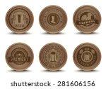 wooden beer house emblems retro ... | Shutterstock .eps vector #281606156