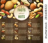 natural raw nuts food mix on... | Shutterstock .eps vector #281608322