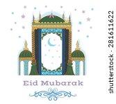 eid mubarak greetings. | Shutterstock .eps vector #281611622