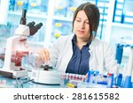 woman laboratory assistant sets ... | Shutterstock . vector #281615582