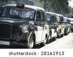 London Taxis Lined Up On...