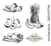 vector set of fruit and... | Shutterstock .eps vector #281619746