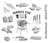 vector set of barbecue and... | Shutterstock .eps vector #281619752