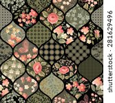 seamless floral patchwork... | Shutterstock .eps vector #281629496