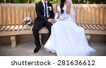 groom and bride on wedding day | Shutterstock . vector #281636612