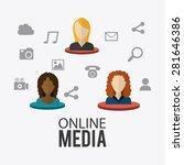 online media design over white... | Shutterstock .eps vector #281646386