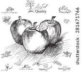 apple.  hand drawing  ... | Shutterstock .eps vector #281671766