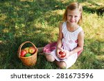little girl collects the apples ... | Shutterstock . vector #281673596