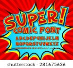 Creative high detail comic font. Alphabet in the style of comics and pop art. Multilayer funny colorful letters and figures for decoration of kids' illustrations, websites, posters, comics and banners | Shutterstock vector #281675636