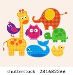 vector colorful animals set ...