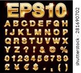 vector set of metallic letters... | Shutterstock .eps vector #281690702