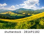 agricultural fields with haystacks on hillside near forest in mountains under morning sky with clouds - stock photo