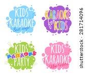kids karaoke logo. vector clip...