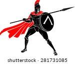 spartan battle warrior spear... | Shutterstock .eps vector #281731085